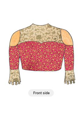 Trendy Pink Cold Shoulder Blouse with Beige N Gold Floral Embroiderey