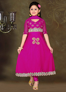 Trendy Pink Teens Anarkali Suit