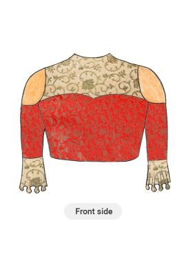 Trendy Red Cold Shoulder Blouse with Beige N Gold Floral Embroiderey