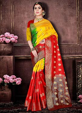 Tricolor Art Benarasi Silk Saree