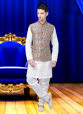 Tricolor Art Silk Brocade Nehru Jacket
