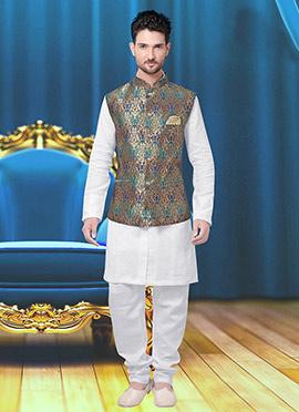 Tricolor Art Silk Brocade Nehru Jacket