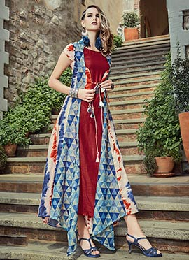 Tricolor Art Silk Dress