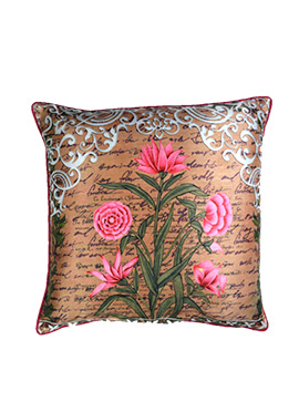 Tricolor Art Silk Flower Cushion Cover
