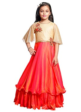 Tricolor Art Silk Girls Gown