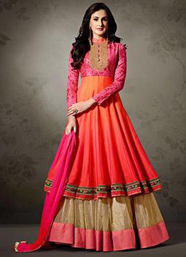 Tricolor Art Silk Net Abaya Style Anarkali Suit