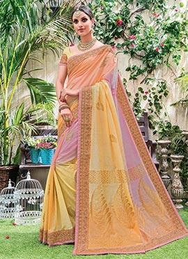 Tricolor Art Silk Saree