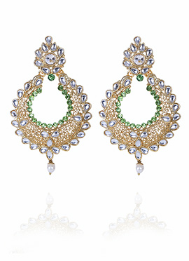 Tricolor Chaand Bali Earring