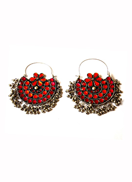 Tricolor Chaand Bali Earrings