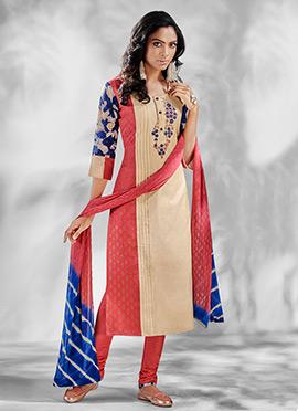 Tricolor Chanderi Silk Churidar Suit