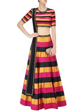 Tricolor Dupion Silk lehenga Choli