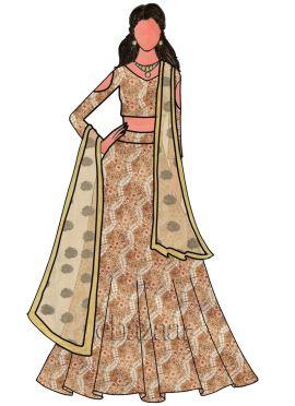 Tricolor Embroidered Net Bridal Lehenga