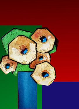 Tricolor Geometrical Design Canvas