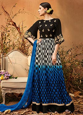 Tricolor Georgette Abaya Style Anarkali Suit