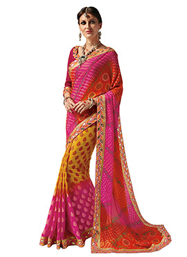 Tricolor Georgette Saree