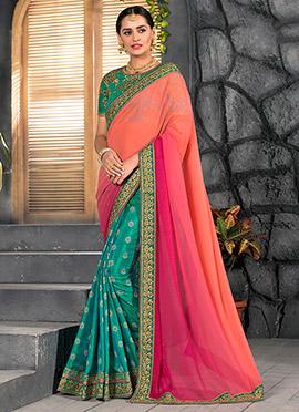 Tricolor Half N Half Saree
