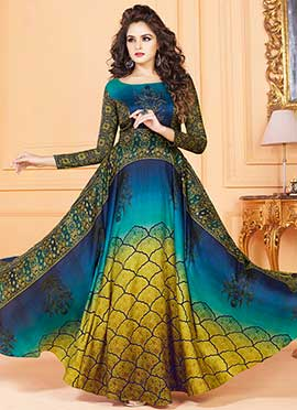 Tricolor Printed Gown