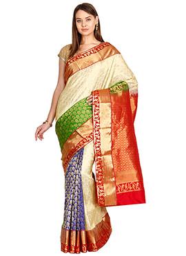 Tricolor Pure Kancheepuram Silk Saree