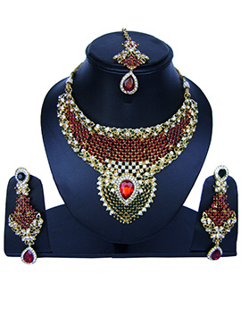 Tricolor Zircon Stone Necklace Set