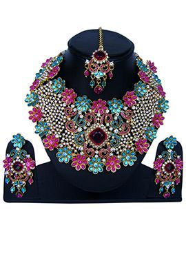 Tricolor Zircon Stone Necklace Set