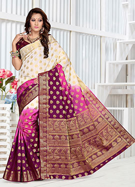 Tricolored Art Raw Silk Saree