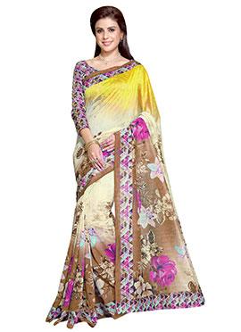 Tricolored Art Silk Printed Saree