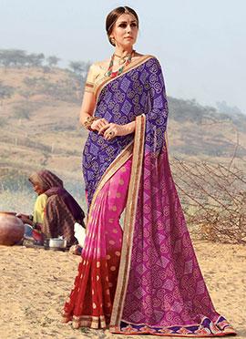 Tricolored Bandhini Printed Half N Half Saree