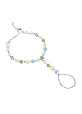 Tricolored Beads Chain Anklet