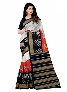 Tricolored Bhagalpuri Silk Printed Saree
