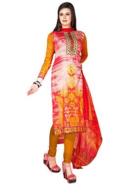 Tricolored Cotton Churidar Suit