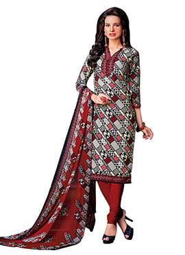 Tricolored Crepe Printed Churidar Suit