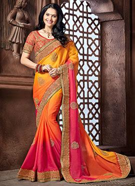 Tricolored Chiffon Silk Saree