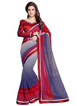 Tricolored Georgette Printed Saree