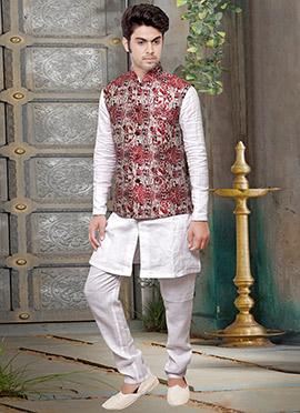 Tricolored Jute Nehru Jacket