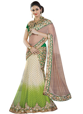 Tricolored Net Lehenga Saree