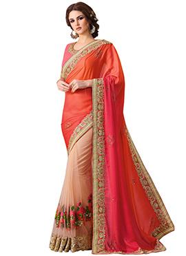 Tricolored Net N Georgette Half N Half Saree