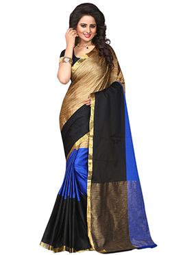 Tricolored Polyester Saree