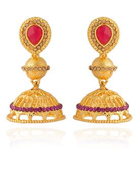 Tricolored Stone Jhumka Earring