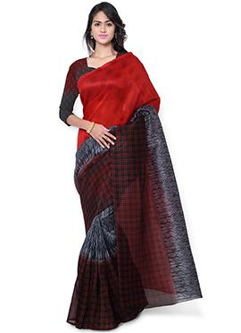 Tricolored Tussar Silk Saree