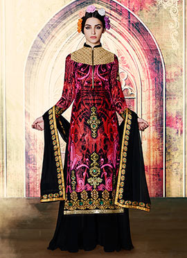 Tricolored Velvet Embroidered palazzo Suit
