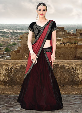 Tricolored Velvet Lehenga Saree