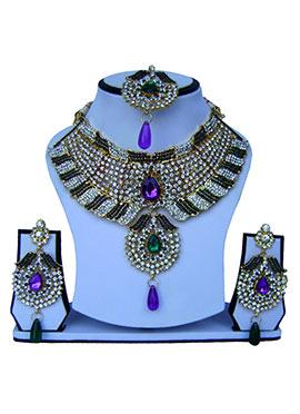 Tricolored Zircon Stone Necklace Set