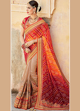 Tricoloured Bandhini Half N Half Saree