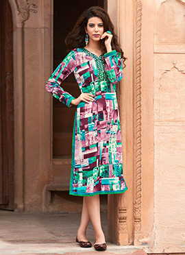 Tricoloured Blended Cotton Kurti