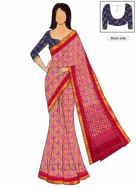 Trisha Style Pink Art Silk Saree Blue Blouse