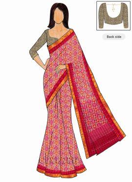 Trisha Style Pink Art Silk Saree Embroidered Blous