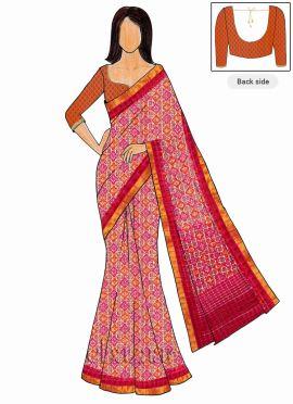Trisha Style Pink Art Silk Saree Orange Blouse