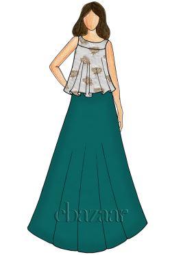Tropical Green Soft Silk Indowestern Skirt Set
