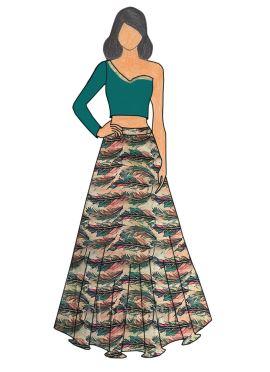 Tropical Green Soft Silk One Shoulder Skirt Set