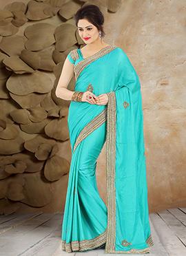 Turquiose Blue Pure Handloom Silk Saree